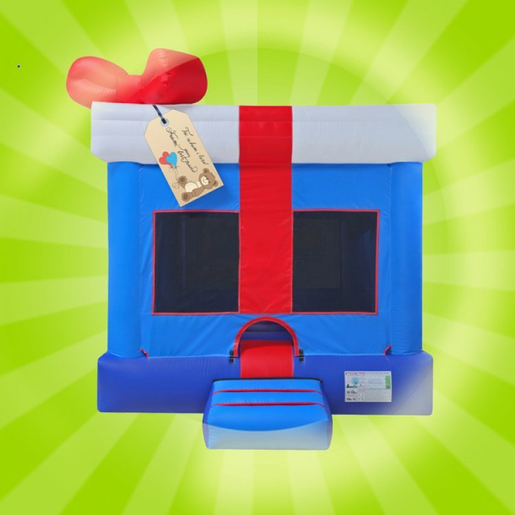 Blue Gift Box Moon Bounce
